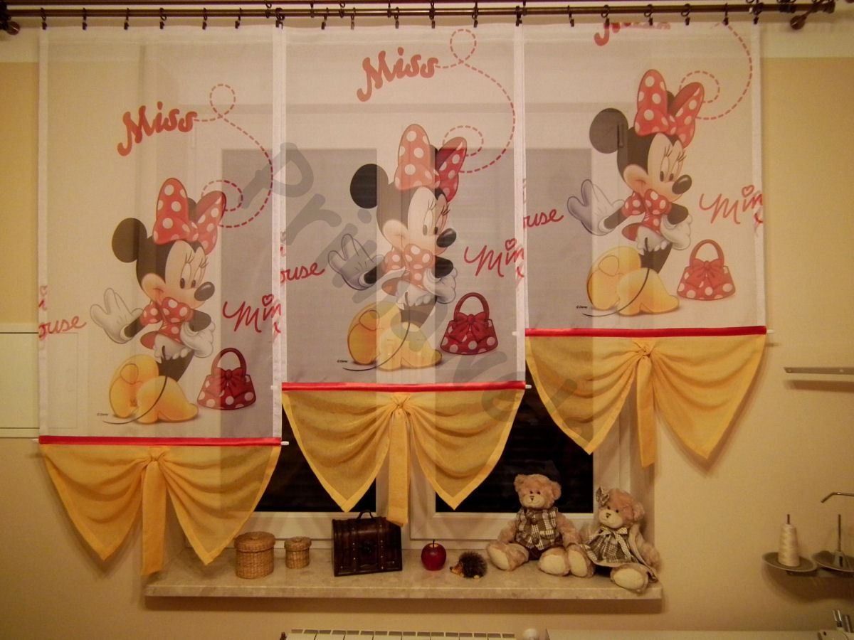 disney minnie gardine kindergardine kinderzimmer baby gardine vorh nge ebay. Black Bedroom Furniture Sets. Home Design Ideas
