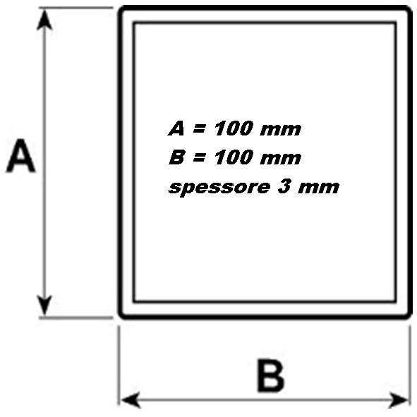 Ferro tubolare quadrato nero sezione quadra mm 100x100 for Ferro tubolare quadrato prezzo